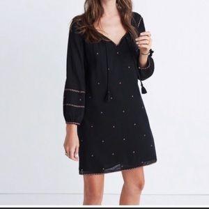 Madewell black embroidered dress